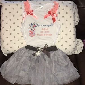 Adorable Pineapple Tank & Ballerina Skirt Set